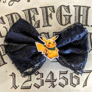 Pikachu Pokemon Satin and Lace Hair Bow Barrette